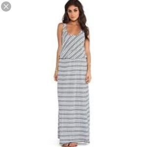 Michael Stars Grey White Stripes Tie Waist Maxi